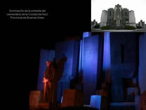 Iluminación de la entrada del cementerio de la Ciudad de Azul, Provincia de Buenos Aires.